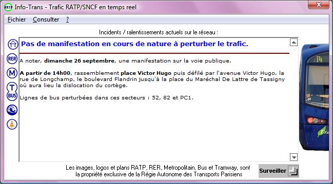 info trafic ratp bus